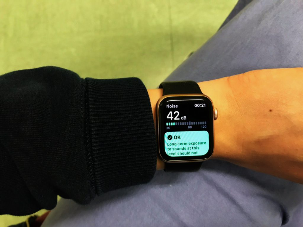 Apple Watch worn by an ICU nurse while measuring noise levels